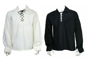 Scottish Highland Jacobite Jacobean Ghillie Kilt Shirt Black/White