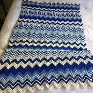 Afghan Throw Vintage Handmade Crochet Zig Zag Throw Lap Chevron Blues & White