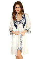 Luxurious Pure Mulberry Silk Indigo Garden Dressing Gown NEW & Gift Box Size M
