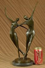 Abstract Modern Art Mid Century Duo Tanzend Bronze Masterpiece Statue Figur