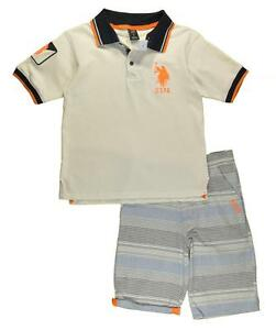 US Polo Assn Big Boys White Polo 2pc Short Set Size 8 10 12 $44