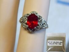RED HELENITE RING SIZE 7 925 STERLING SILVER FILIGREE Plus 1980 VOLCANIC ASH