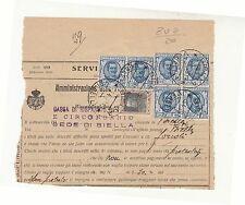 1928 SERVIZIO POSTALE CASSA RISPARMIO BIELLA-L.1,25x6FLOREALE+c.50-h294