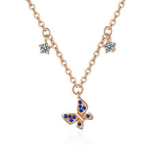 Elegant 925 Sterling Silver Rose Gold Plated Zircon Butterfly Pendant Necklace