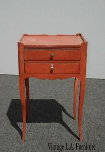 Vintage French Country Red Side Table Nightstand Farmhouse Rustic