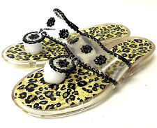 J8472 New Women's Jack Rogers Jelly Thong Sandals, Leopard/Black 7 M