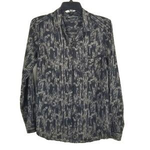 Exofficio Gray Print Button Down Shirt L 12 14 FLAW Lightweight Outdoor Womens