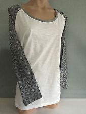 BNWT Ladies Sz 26 Cream Animal Print Long Sleeve Round Neck Stretch T Shirt Top