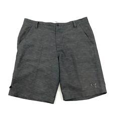 PUMA Golf Shorts 36 Men Gray Flat Front Active Short Heathered Zip Pocket