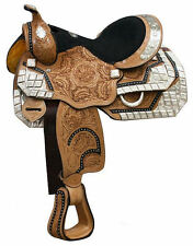 13 Inch Western Silver Show Saddle - Light Oil Leather - Black Accents