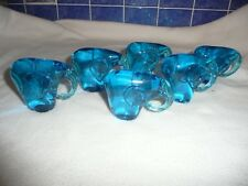 6 NEW HANDMADE GLASS ELEPHANT ORNAMENTS/PAPERWEIGHTS TEAL BLUE GIFT 8CM TALL