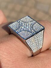Large Real Solid 925 Sterling Silver Mens Diamond Ring Hip Hop 18mm Square Iced