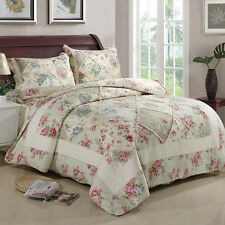 Floral Cotton Quilted Coverlet Bedspread Queen/King Size Patchwork Throw Blanket
