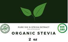 Organic + Stevia extract Powder ZERO Calories, No Fillers Non-GMO 2 Oz