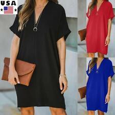 Women's Summer Baggy Loose Mini Shirt Dress Summer Ladies Casual V Neck Sundress