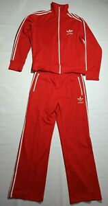 Adidas Original Vintage Men's Rare 80/90's Red Tracksuit  top Jacket pants Sz L