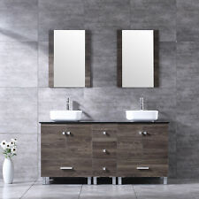 60'' Ply Wood Bathroom Vanity Cabinet Square Ceramic Sink w/Mirror Set New