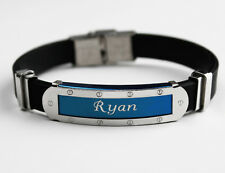 RYAN - Mens Silicone & Blue Name Plate Engraved Bracelet - Identity Gifts