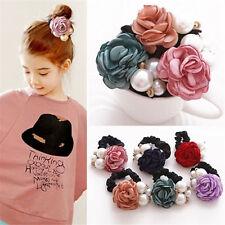 Women Satin Ribbon Rose Flower Pearls Hairband Ponytail Holder Hair Band