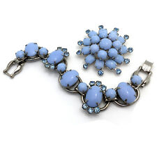 Vintage JULIANA Blue Milk Glass Bracelet Brooch Demi Parure, D&E Rhinestone Set