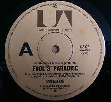 Don McLean - Fool's Paradise / Happy Trails - K-5376 (Australia 1974)