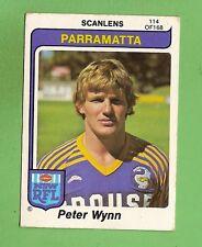 1980  PARRAMATTA EELS   SCANLENS RUGBY LEAGUE  CARD #114  PETER WYNN