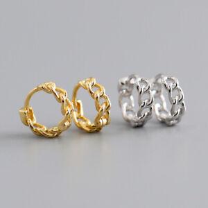 "Kleine Klapp Creolen ""Kette"" echt Sterling Silber 925 Damen Ohrringe Kreolen"