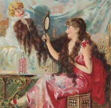 Barrys Tricopherous Hair Skin Cure Boudoir Mirror Bottle Advertising Trade Card