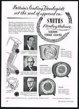 1950s Vintage Smiths Darius Cameronian Tulyar Floating Balance Clock Print Ad