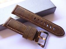 24/22mm Retro Vintage Asso leather band - 24mm Strap Panerai style
