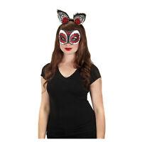 Adult Kids Sugar Skull Day of the Dead Dia De Los Muertos Roses Costume Cat Ears