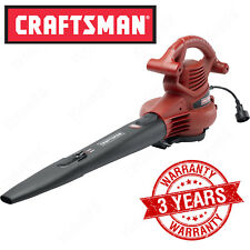 Craftsman 2-Speed Electric Leaf Blower Vac, Handheld Lawn Mulch Bag Cord Vacuum