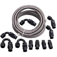 AN6 AN6 -6AN Swivel E85 Oil  PTFE Fuel Line Hose End Black Fitting + Fuel Hose