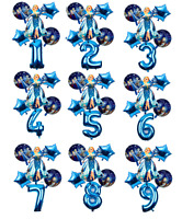 Frozen Elsa Anna BLUE 30'' Age Number Happy Birthday 6 Helium Party Balloons