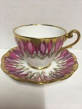 Vtg Royal Standard England Pink & Purple Tulips Cup & Saucer Trimmed in Gold