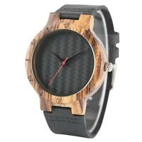 Natural Wood Watches Leather Bamboo Wirstwatch Bracelet Quartz Wooden Watch