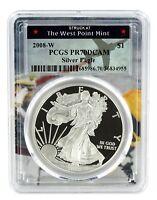 2008 W Silver Eagle Proof  PCGS PR70 DCAM  - West Point Frame
