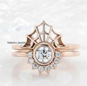 2Ct Round Moissanite Bezel Set Engagement Ring Spider Web Band 14K Rose Gold