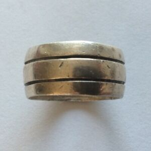 VINTAGE MENS STERLING SILVER RING SIMPLE 2 LINES BAND SIZE 9 6.99 Grams 925