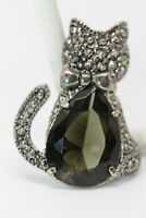 Vintage Cat Marcasite Style Pin with Large Smokey Green Stone