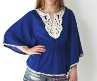 BNWT Womens Size 8 & 12 Blue Beige Lace Blouse T-Shirt Casual Poncho Top