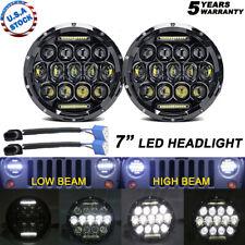 2x 180W 7inch Round Black Halo Led Headlight Hi-Lo Beam For Freightliner Century