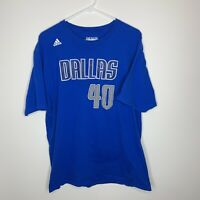 Mens 2XL Adidas Dallas Mavericks #40 Harrison Barnes Jersey T-Shirt NBA Blue