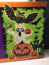 "72"" Burlap Stacked Pumpkin Ghost and Owl Mini Lights Halloween Prop Decoration"