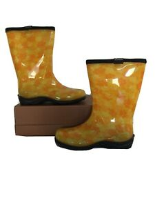 NWOT SLOGGERS Yellow Paw Print Rain and Garden Waterproof Boots - Size 6