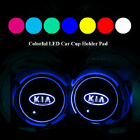 2ps Colorful Led Car Cup Holder Bottom Pad Mat Auto Atmosphere Fit For KIA motor