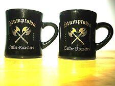 Stumptown Coffee Heavy Metal Axe Black and Gold Ceramic Mug Set of 2 Rare