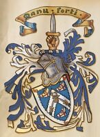 Scottish Grant of Arms 1901 with other documents - Mackay Family