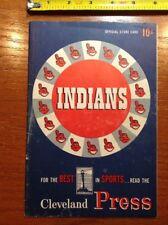 1953 Cleveland Indians v New York NY Yankees Scorecard Program Mickey Mantle Uns