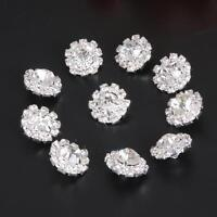 10pcs Flatback Crystal Rhinestone Buttons Flower Embellishment Sewing Craft